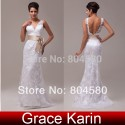 Design Deep V-neck Sexy Stock Floor Length Lace + Satin Bridal Wedding Dress  CL3850-1#