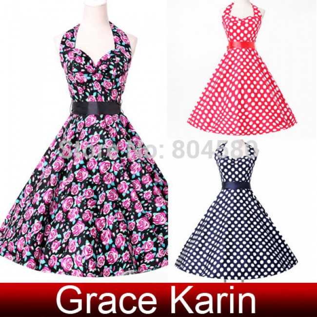 Fashion Knee Length Women 50s Retro Vintage dress short Print Cocktail Party Gown CL6076