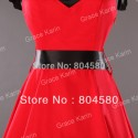 Sleeveless Cotton Fashion Women Vintage Dress with Removeable black waistband short Party gown CL4597
