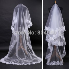 wholesale/retail White lace edge long wedding head veil bridal veils accessories 2.7m CL2641