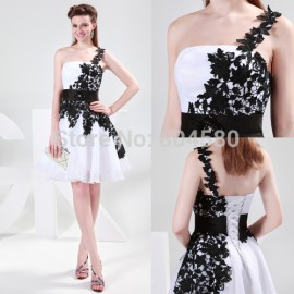 Grace Karin Stock One shoulder Knee Length Women Formal Homecoming Party Gown Short Cocktail dress CL4288