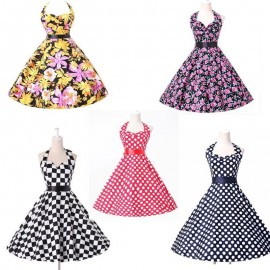 Free Shipping 2015 New Fashion Summer Style Knee Length Women 50s Retro Vintage dress short Print Housewife swing gown 6076