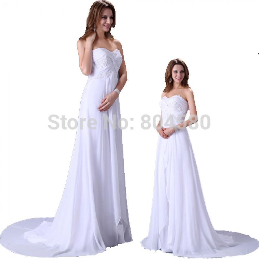 Free shipping elegant design floor length white chiffon for White chiffon wedding dress