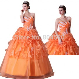 Free Shipping Grace Karin Strapless Orange Bridal Wedding dress 2015 Sleeveless Formal Gown 2518