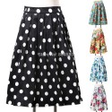 Fashion Women Mid-Calf Floral Print Vintage Skirts Elastic Polka Dots Cocktail Party Masquerade Skirt CL6294