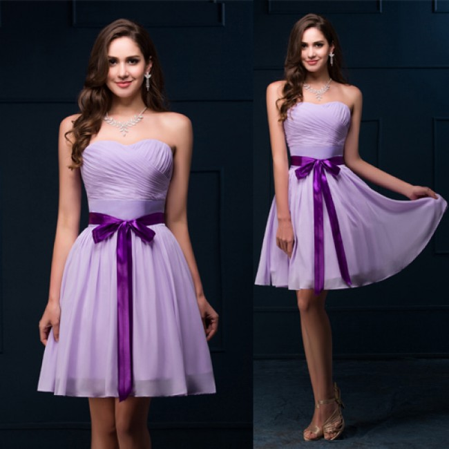 Free shipping Grace Karin Knee length Short Bridesmaid Dresses Purple Chiffon Brides Maid Dress Strapless Wedding Party Gown D89