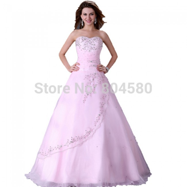 Grace Karin Floor Length Prom Ball Gown dress Long Wedding dresses  Pink Bridal Party Gowns Lace Up Back CL4523
