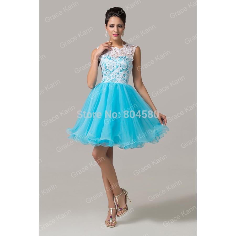 Grace Karin Knee length Lace & Tulle blue elegant party maxi evening ...