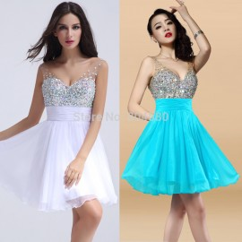 Grace Karin  Fashion Women Knee Length Deep V Neck Short Cocktail Party Dresses Beaded Prom Gown dress for Homecoming CL7507