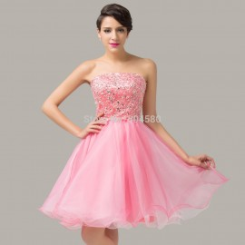 Grace Karin Sexy Organza Short Homecoming Ball dress Pink Cocktail Party dresses for Juniors Special Occasion Gown  CL6138