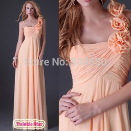 Grace Karin Stock Asymmetrical Orange Floor Length Women Flower Dresses Chiffon Evening Dress Long Prom Gown Ball CL3460