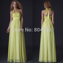 Grace Karin Stock Floor Length Yellow Chiffon Halter Evening Dress Formal party Gown Long Celebrity prom dresses  CL3432