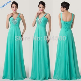 Grace Karin Two Shoulder Turquoise Deep V Neck Formal Dress Long Chiffon Bandage Bridesmaid dresses Women Party Gown  CL6244