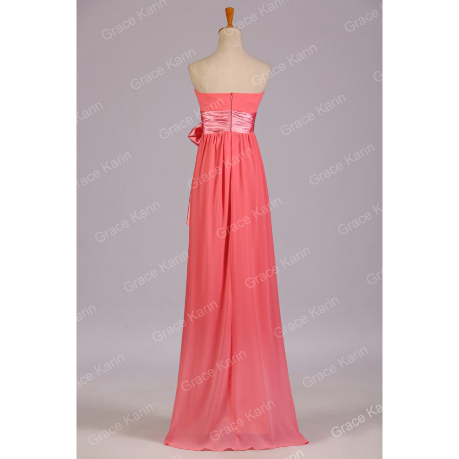 Grace karin plus size strapless a line bridesmaid dresses for Plus size coral dress for wedding