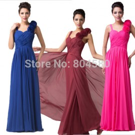 Grace Karin Special Events Blue Sweetheart Formal dress Chiffon Long Bridesmaid dresses 2015 Wedding Party Gown 4604