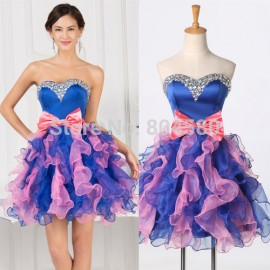 Grace Karin Strapless Organza Party Ball Gown Cheap Short Homecoming dress Bow Knot Girl Prom dresses 2015 Formal Gowns 007528