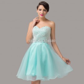 High Quality Beige Turquoise Crystals Organza Women Summer Ball Gown Short Cocktail dress Fashion Prom Party Gowns  CL6144