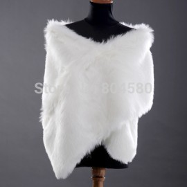High Quality White Color Faux Fur Warm Bridal Wraps Wedding Jackets Bolero shawl Coat CL2619