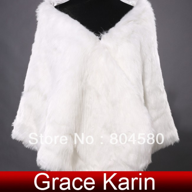 Hot  Fashion Bridal Faux Fur Wrap Shrug Stole Shawl Warm Wedding Cape Tippet Ivory CL4940