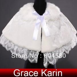 Hot Retail/Wholesale  ivory Wedding Dress Faux Fur Wrap Coat Bridal Shawl Accessories CL4938