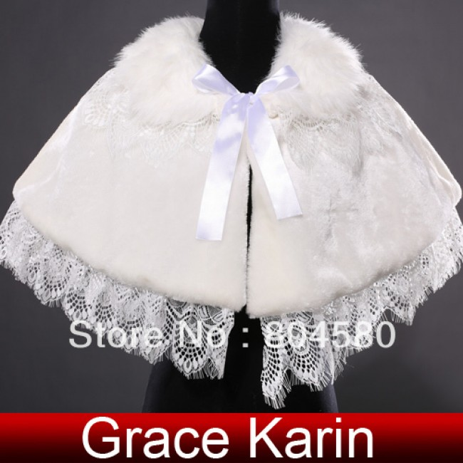 Hot Retail/Wholesale  ivory Wedding Dress Faux Fur Wrap Coat Bridal Shawl Accessories CL4938