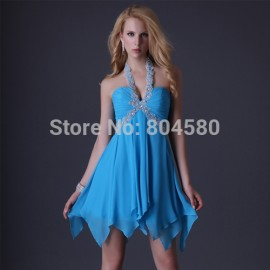 Hot Grace Karin Sexy Stock Halter Blue Cocktail party Dress lace up prom dresses short women Gown CL3472