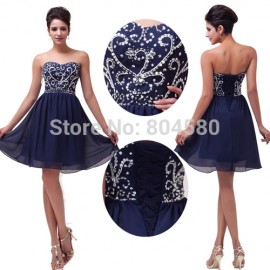 Hot Selling s/lot Strapless Chiffon Ball Party Gown Mini prom dress Short Princess Evening Dresses CL6049