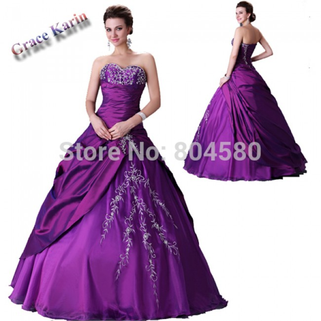 Hot Selling Purple Satin Beads Ball Gown Beach Wedding dress Bride Dresses / Gown CL2515