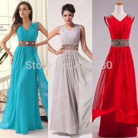 Hot Sale Red Blue Grey Cheap Long Bridesmaid Dresses Sleeveless Formal Gown Stock Custom Made Wedding Party Dress Chiffon D3403