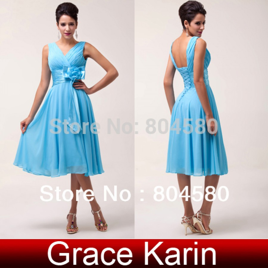Latest Design Stock Deep V-Neck Chiffon Prom short Dress Formal Evening Gown  Mini party Dresses CL6015 73a77f8258c0