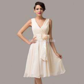 Latest Design Stock Deep V-Neck Chiffon Prom short Dress Formal Evening Gown Mini party Dresses CL6015