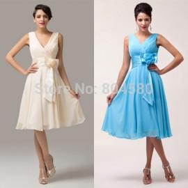 Latest Design Grace karin Knee length Deep V-Neck Chiffon Evening Prom Party Dress Short Mother of the Bride Dresses CL6015