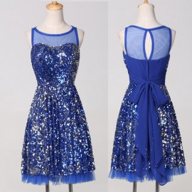 Luxury Women Short Cocktail Dress Knee Length Blue Sequins Mother of the Bride Dresses Sleeveless Formal Prom Party Gown 7574