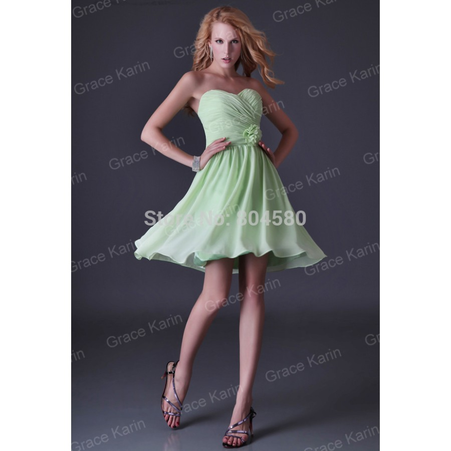 Mint green strapless knee length chiffon prom gowns for Summer dresses for wedding party