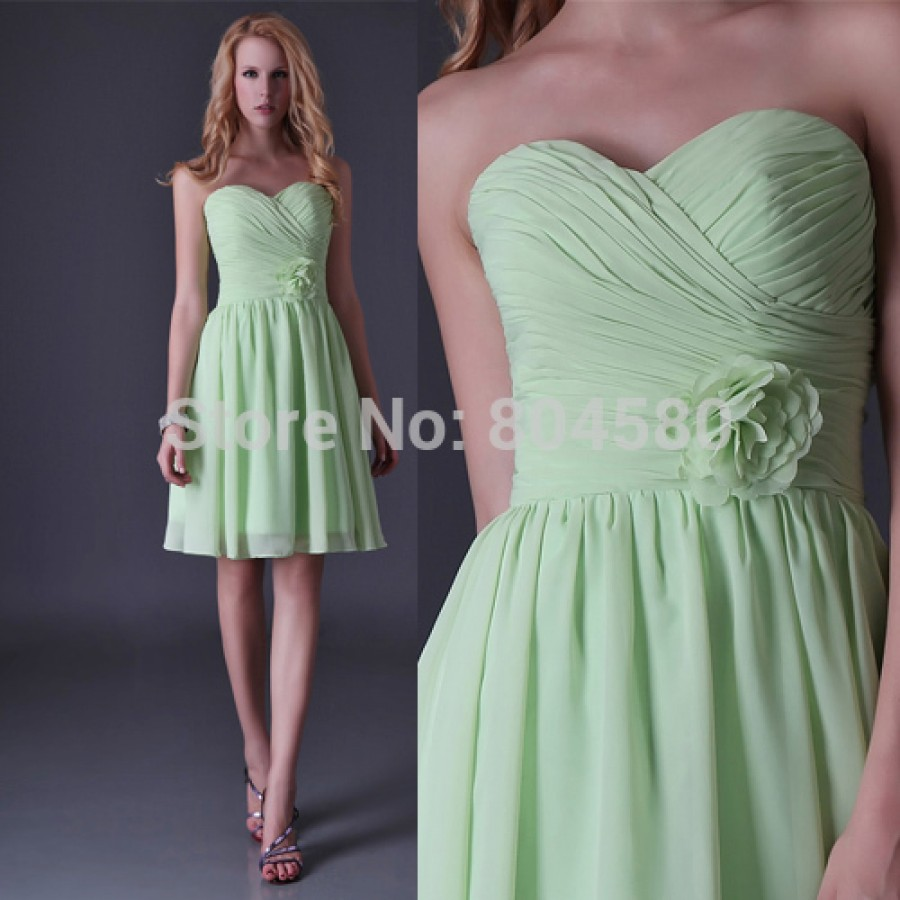Mint green strapless knee length chiffon prom gowns for Womens summer dresses for weddings
