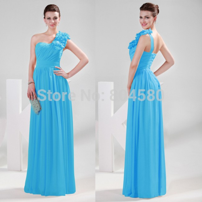 fashion sexy One Shoulder Chiffon long prom dress red blue bridesmaid dresses with flowers CL4287