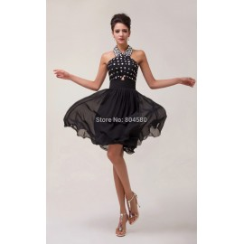 Grace Karin Knee Length Halter Chiffon Formal prom dresses Short Ball dress Cocktail Party Gown CL6018