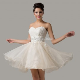 Elegant Women Strapless Short length Organza Homecoming Party prom Gown Short Evening dress CL6134 (AL12)