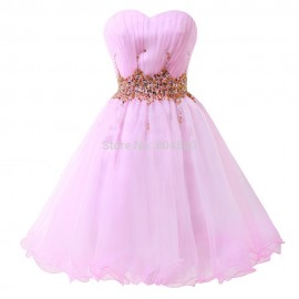 Fashion Stock Strapless Voile Knee Length Ball Gown Cocktail Prom dress Short Party Dresses 8 Size US 2~16 CL4972