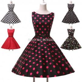 Fashion Stock Vintage Cotton Sleeveless Women Party Dress Flower Floral Dots print dresses CL6086