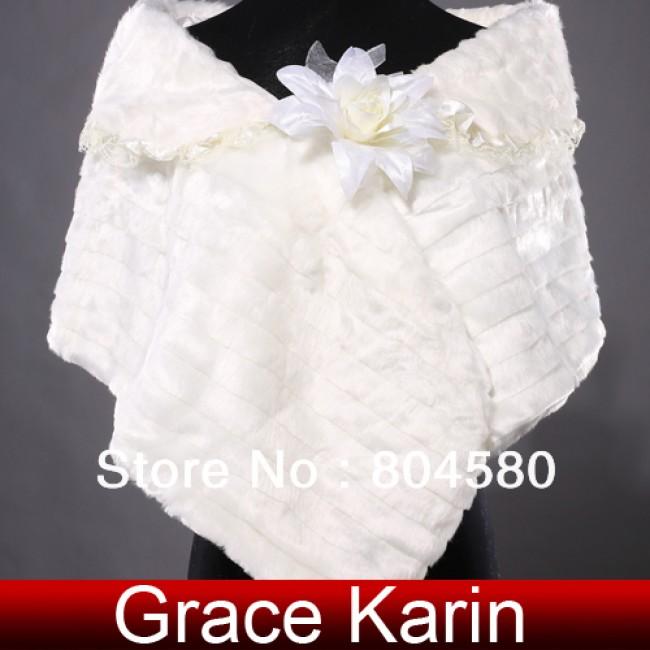 Ivory Warm Faux Fur Wedding Bride Wrap Shawl Cape Tippet Bridal Jacket Coat Accessories CL4941