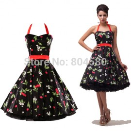 Hot Halter Cotton Women Fashion Casual Summer Vintage Dress Short Evening Party Dresses CL4595