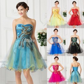New 2015 Fashion Strapless Ball Gown Knee length Embroidery Women Short Prom Dress 2015 Cocktail Party Dresses Graduation D7541