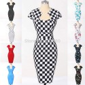 New Fashion 2015 Plaid Flower Print Polka Dots Pencil Dress Vintage 50s dresses Pin Up Retro Rockabilly Summer Party Gown D7597
