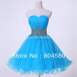 New! Sexy Strapless Voile Blue Party gown Short Prom Dress 2015 Women Short Evening dresses CL4972