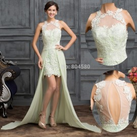New Sexy Women High Neck Lace Cocktail party dress Short Front Prom Gown Ball Homecoming dresses Sleeveless Formal Gowns CL7518