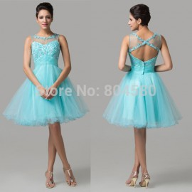 Novelty DesignSexy Knee Length Party Clothing Rhinestone Pleated Beading Tank Prom Gown Short Cocktail dresses  Blue CL6151