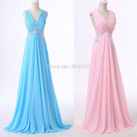 Pink Blue Chiffon Bridesmaid Dress Long Cheap Wedding Party Dresses Over 2015 Sleeveless Brides Made Gowns Under $50 D6114