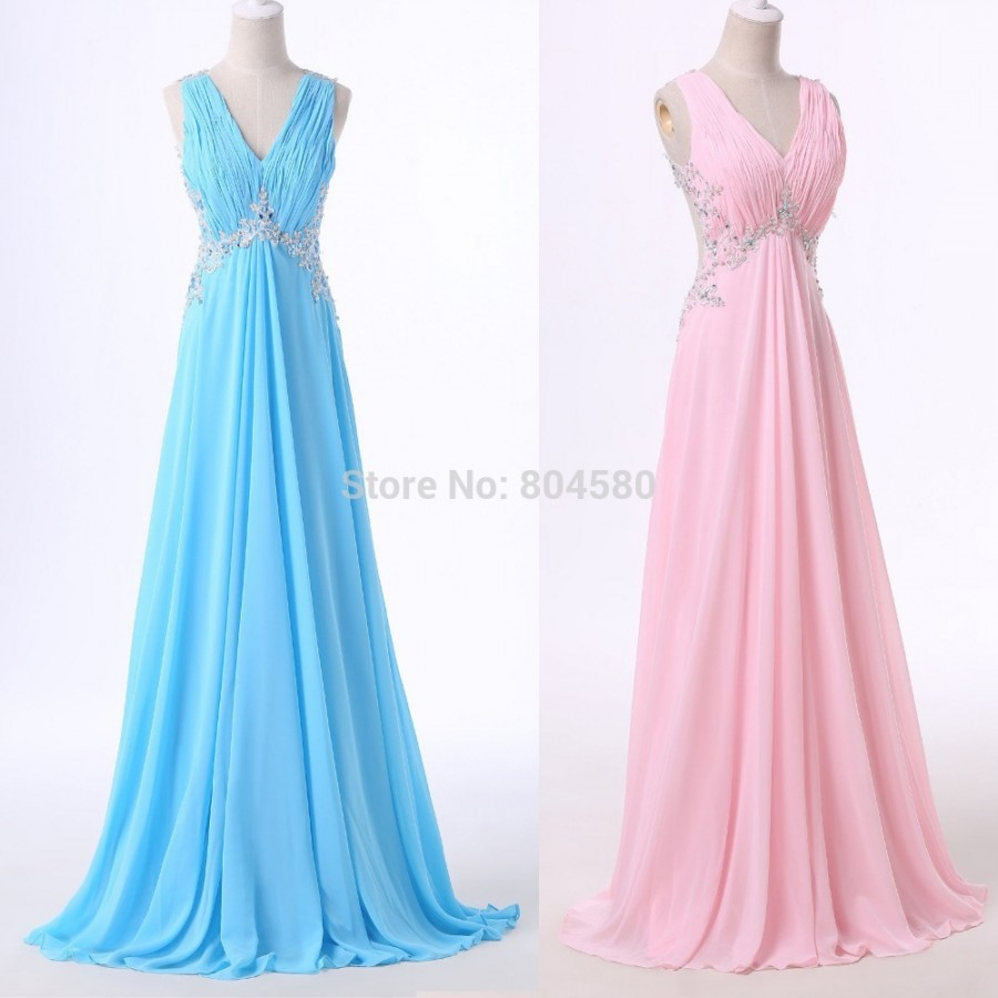 Pink Blue Chiffon Bridesmaid Dress Long Cheap Wedding Party Dresses ...