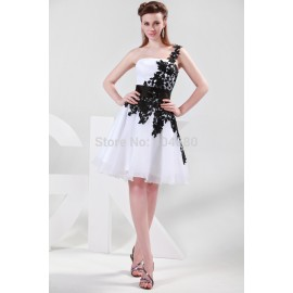 Promotion   Grace Karin One Shoulder White Black Lace Appliques Formal Party Gown Short Bridesmaid Dresses CL4288